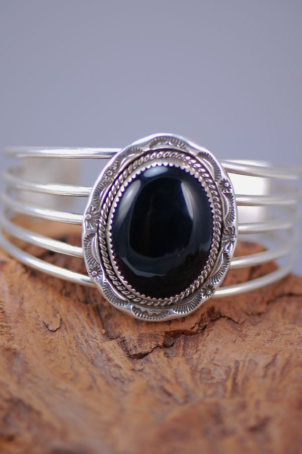 Black Onyx Sterling Silver 5 Wire Bracelet by Joanne and Felix Tsinijinnie
