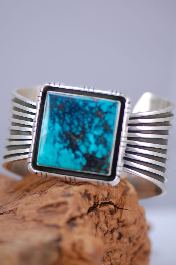 Navajo - China Mountain Turquoise Sterling Silver Bracelet by V. James