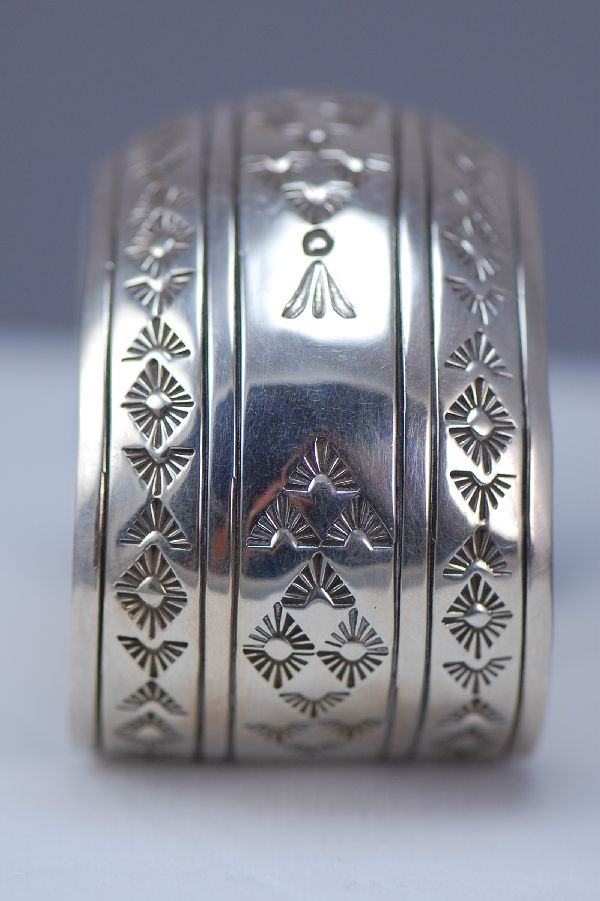 Navajo - Heavy Sterling Silver Overlay Domed Bracelet by Gilbert Begay
