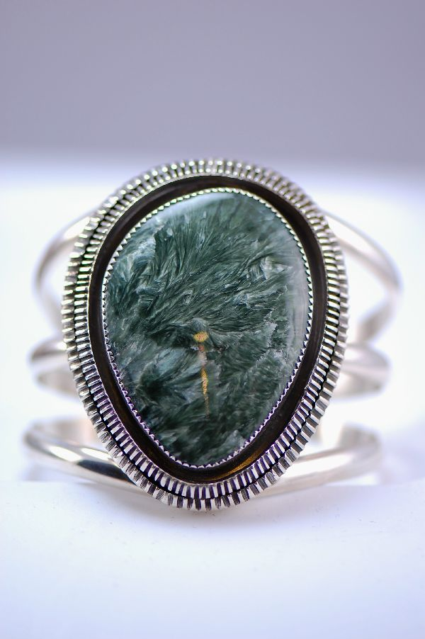 Navajo - Sterling Silver Seraphinite Bracelet by Loren Begay