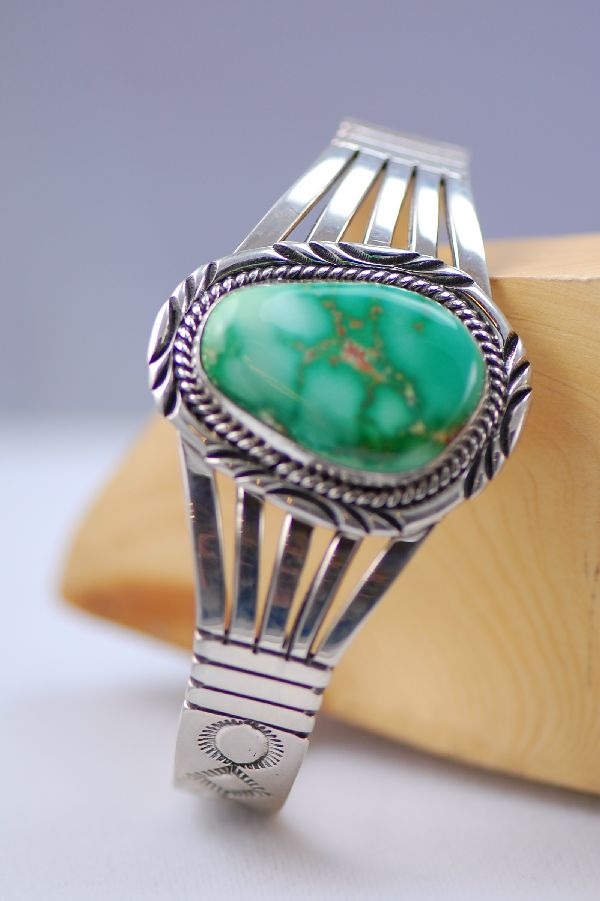 Navajo – Natural Fox Turquoise and Sterling Silver Bracelet by Will Denetdale