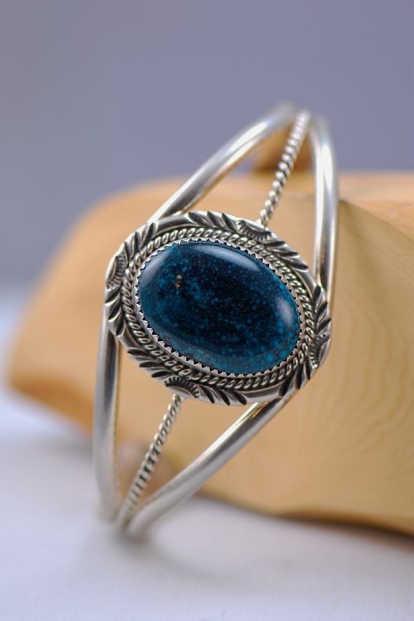 Navajo – Azurite with Malachite Sterling Silver Bracelet by Will Denetdale