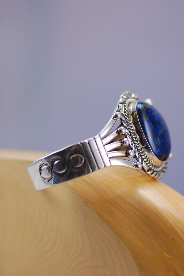 Navajo – Azurite With Malachite and Sterling Silver Bracelet by Will Denetdale