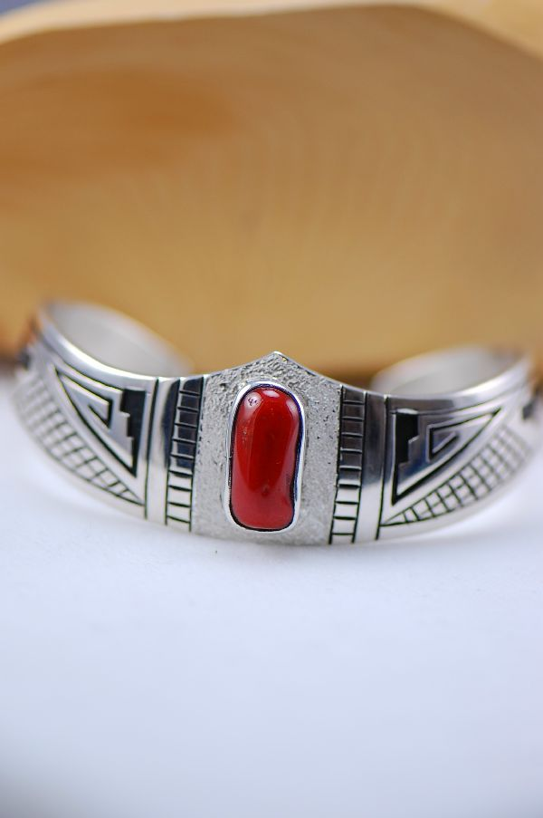 Navajo – Natural Mediterranean Coral Sterling Silver Cuff Bracelet by Richard John