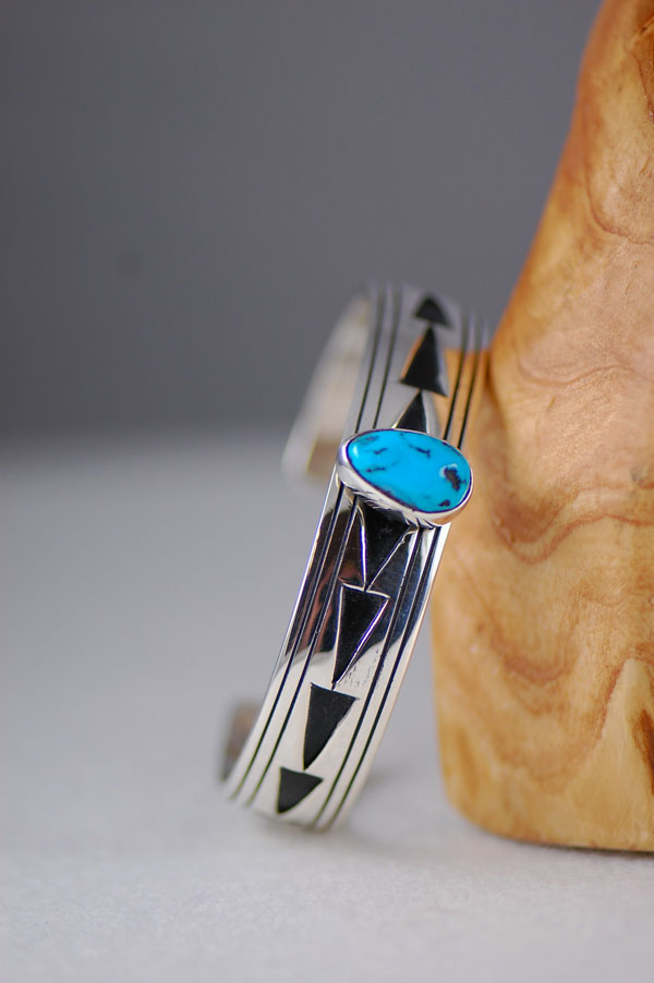 Navajo – Exquisite Sterling Silver Overlay Cuff Bracelet with Sleeping Beauty Turquoise by Richard John