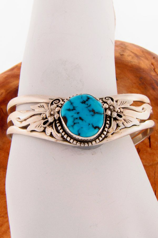 Navajo - Sterling Silver Turquoise Drop Cuff Bracelet by Les Baker/Fritson Toledo