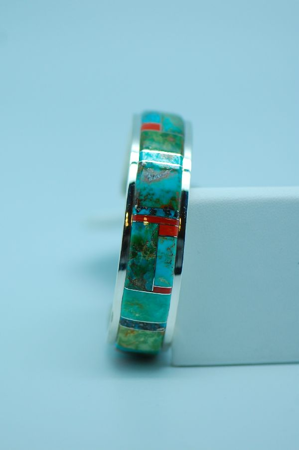 Navajo - Quality Sterling Silver Turquoise and Coral Inlaid Bracelet by Lucy Cayatineto