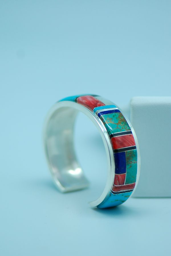 Navajo - Quality Sterling Silver Multi-Stone Inlaid Bracelet by Lucy Cayatineto