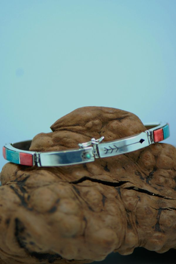 Navajo – Exquisite Sterling Silver Inlaid Turquoise, Jet and Spiny Oyster Shell Bracelet by Ernest Clark and Sandra Parkett