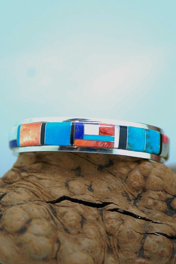 Inlaid Sterling Silver Navajo Bracelets