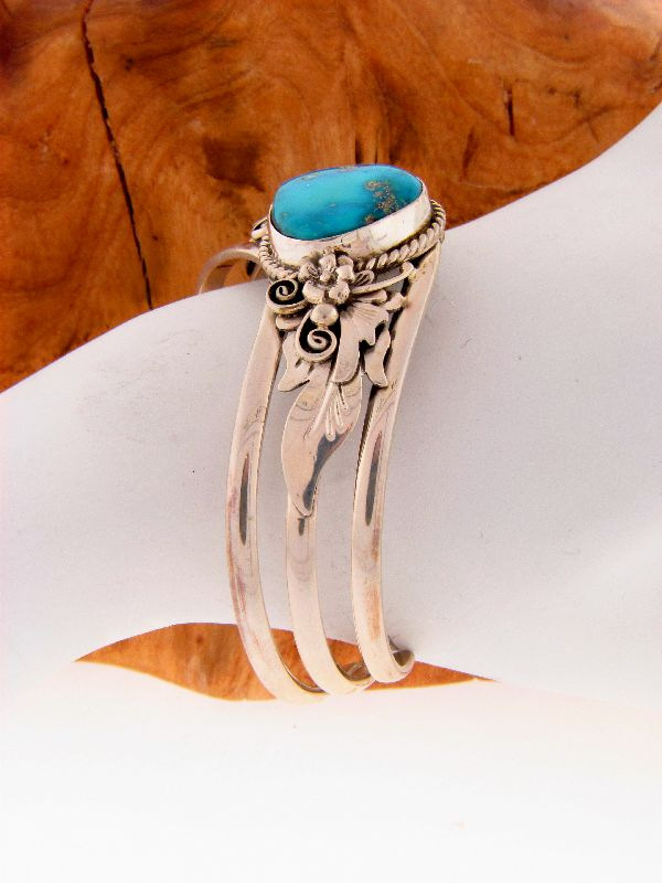 Navajo – Sterling Silver Morenci Turquoise Drop Cuff Bracelet by Les Baker/Fritson Toledo
