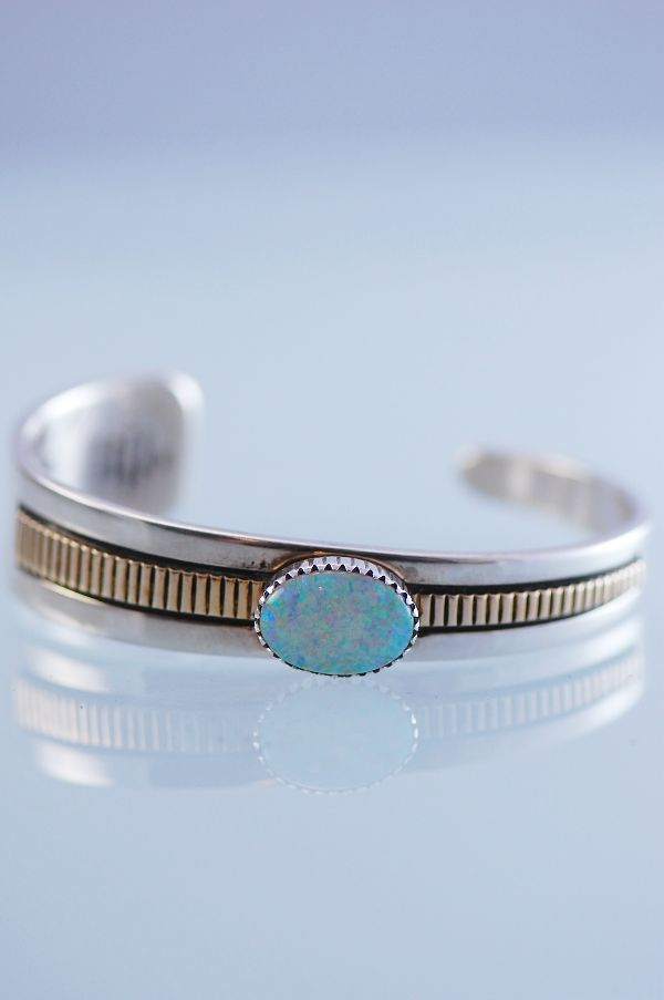 Navajo 14KT and Sterling Silver Lab Opal Bracelet