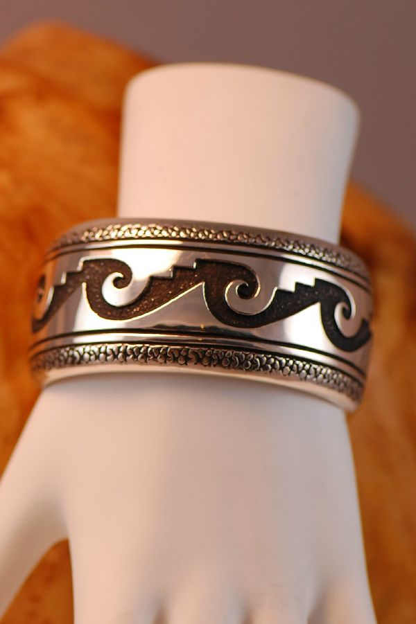 Navajo – Sterling Silver Water Symbol Bracelet by the late Tommy Singer