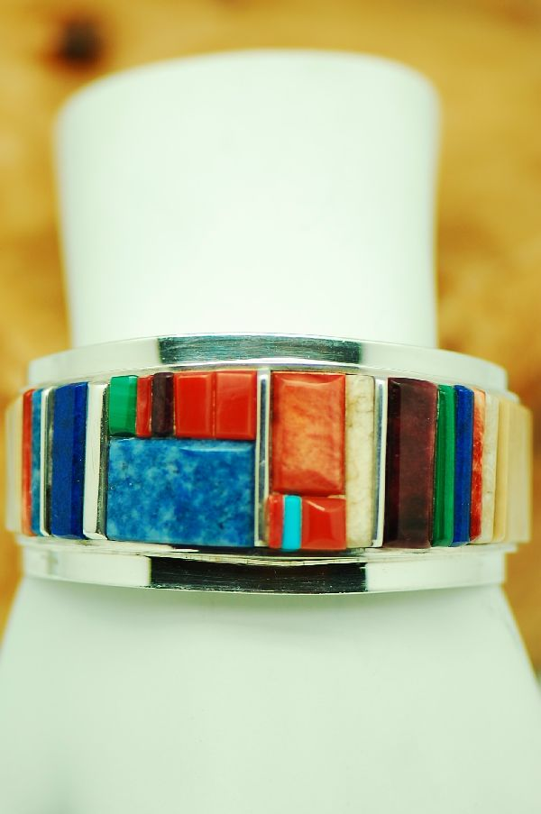 Navajo - Exquisite Sterling Silver Multi-Stone Raised Inlaid Bracelet by Harold Smith