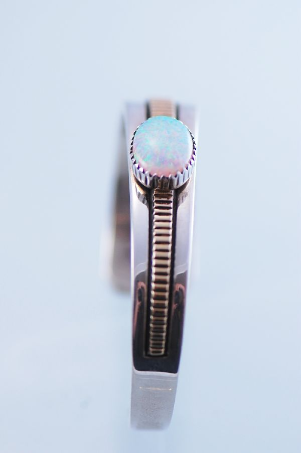 Navajo – Lab Opal 14KT Gold and Sterling Silver Bracelet by Will Denetdale