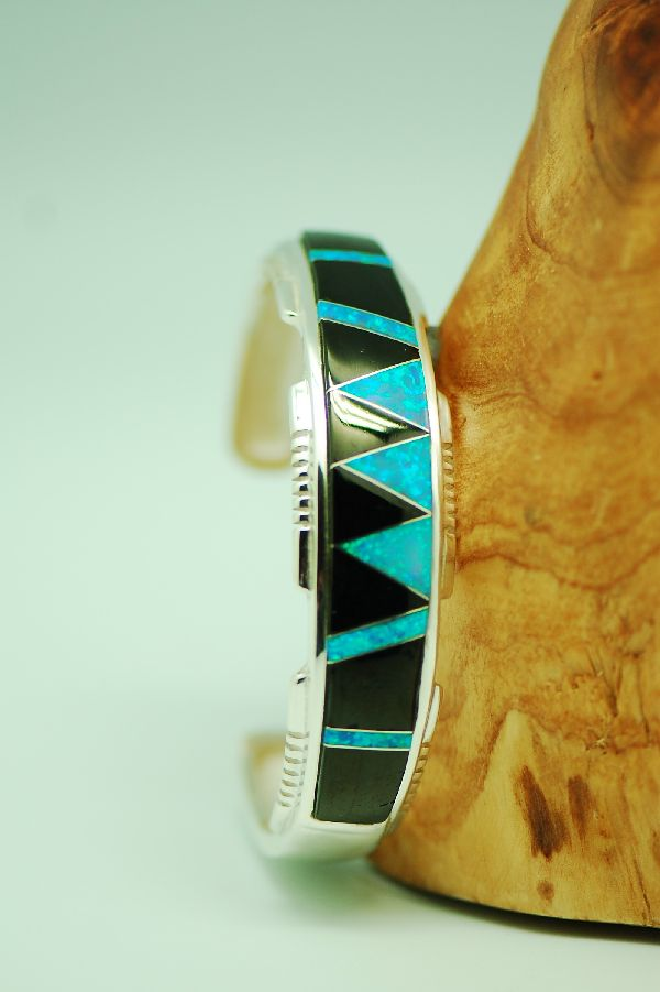 Navajo – Exquisite Sterling Silver Inlaid Lab Opal and Jet Bracelet by Lucy Cayatineto
