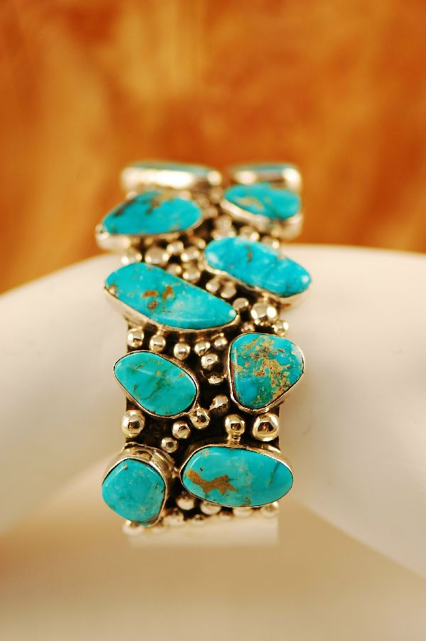 Navajo – Exquisite Sterling Silver Blue Gem Turquoise Bracelet by Lucy Cayatineto