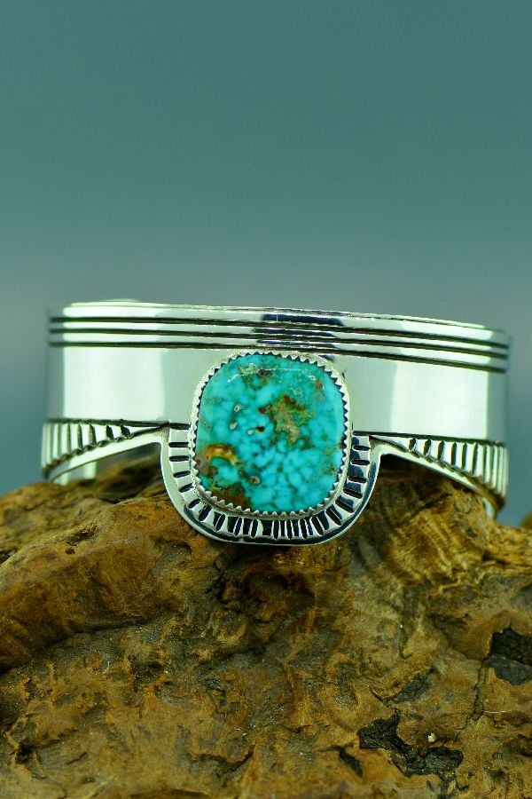 Navajo – Exquisite Heavy Weight Sterling Silver Royston Turquoise Bracelet by the late Kee Joe Benally
