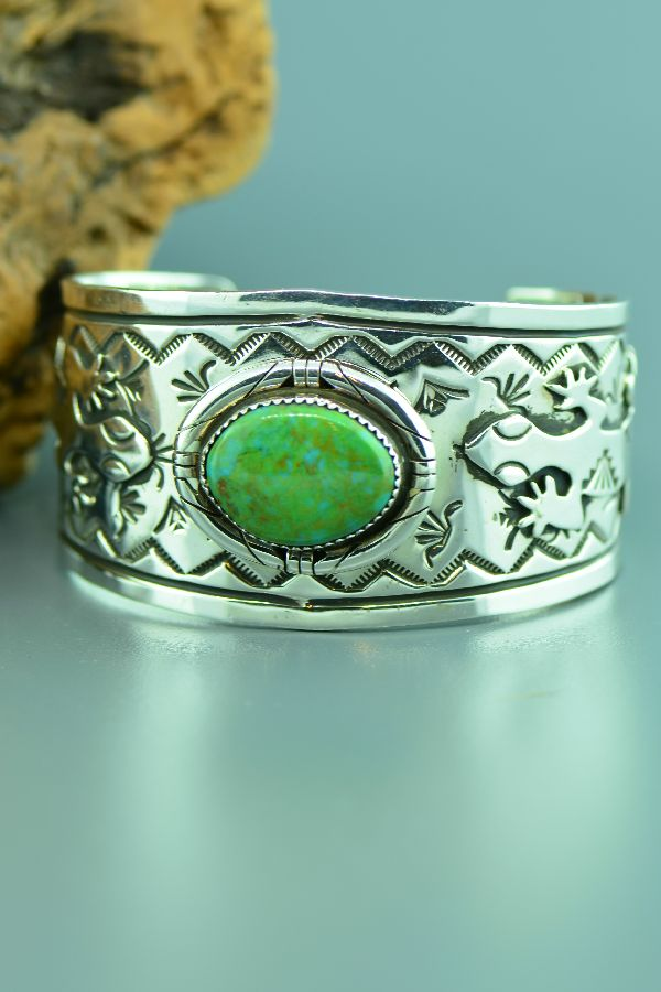 Navajo – Exquisite Heavy Weight Sterling Silver Manassas Turquoise Bracelet by Sara Peynetsa