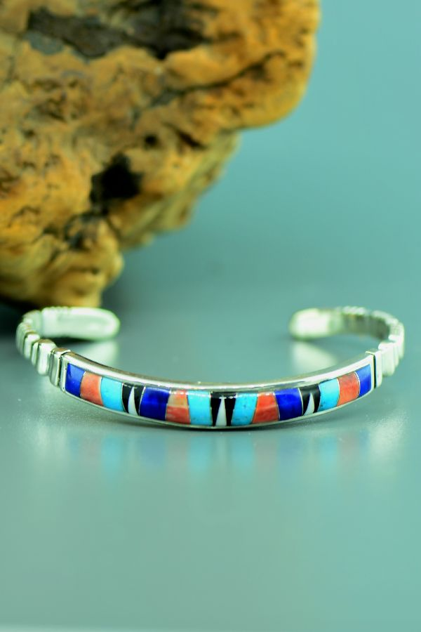 Zuni - Quality Sterling Silver Turquoise, Spiny Oyster Shell, Lapis, Jet and Mother of Pearl Inlaid Bracelet by E.C Kallastewa