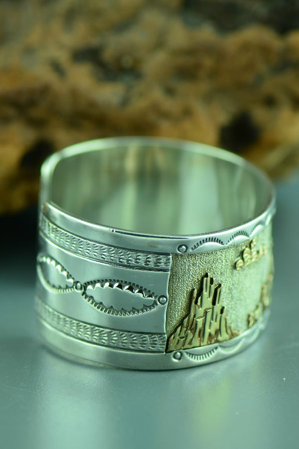 Navajo - Magnificent 12ktGF and Sterling Silver Story Bracelet by Sampson Gray