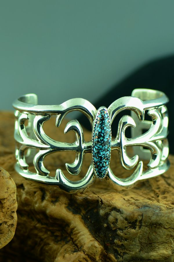 Navajo – Exquisite Contemporary Sterling Silver Mosaic Turquoise Bracelet