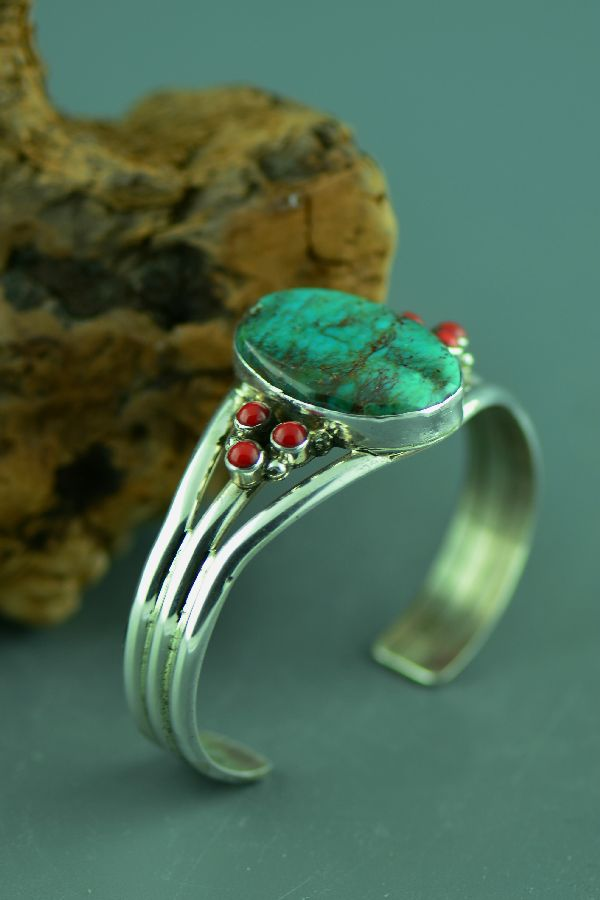Navajo - High Quality Bisbee Turquoise and Natural Mediterranean Coral Bracelet by M. Bennett