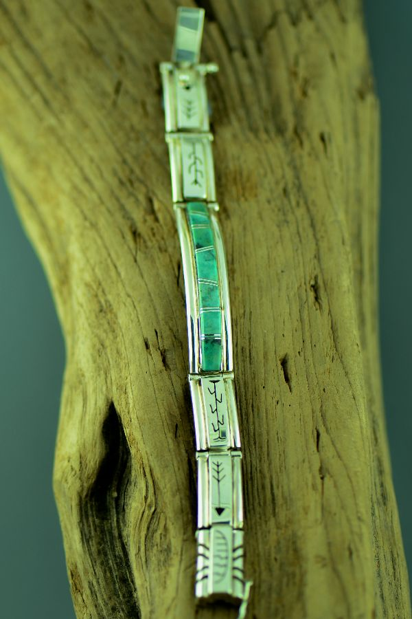 Navajo – Exquisite Sterling Silver Turquoise Inlaid Bracelet by Ernest Clark and Sandra Parkett