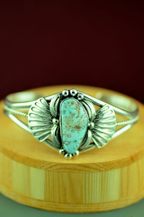 Navajo – Sterling Silver Dry Creek Turquoise Bracelet by Mary Ann Spencer