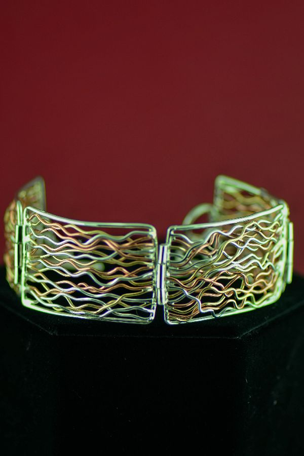 Navajo Sterling Silver, Copper and 12ktGF Branch Wire Link Bracelet by Angela Martin