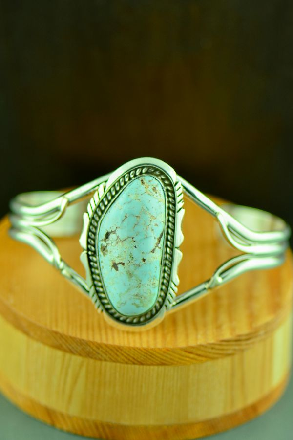 Native American Sterling Silver Dry Creek Turquoise Bracelet by Eugene Belone