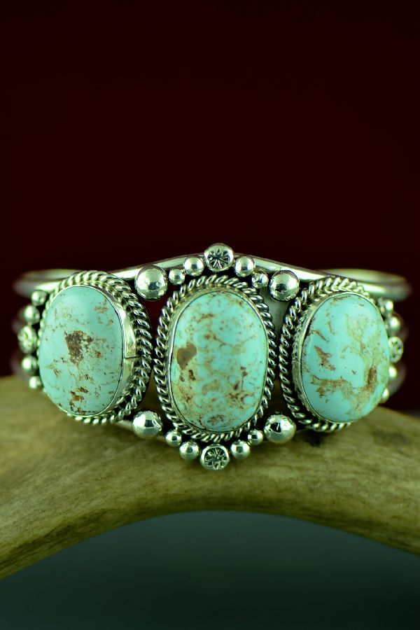 Navajo Exquisite Sterling Silver Dry Creek Turquoise Bracelet by Mary Ann Spencer