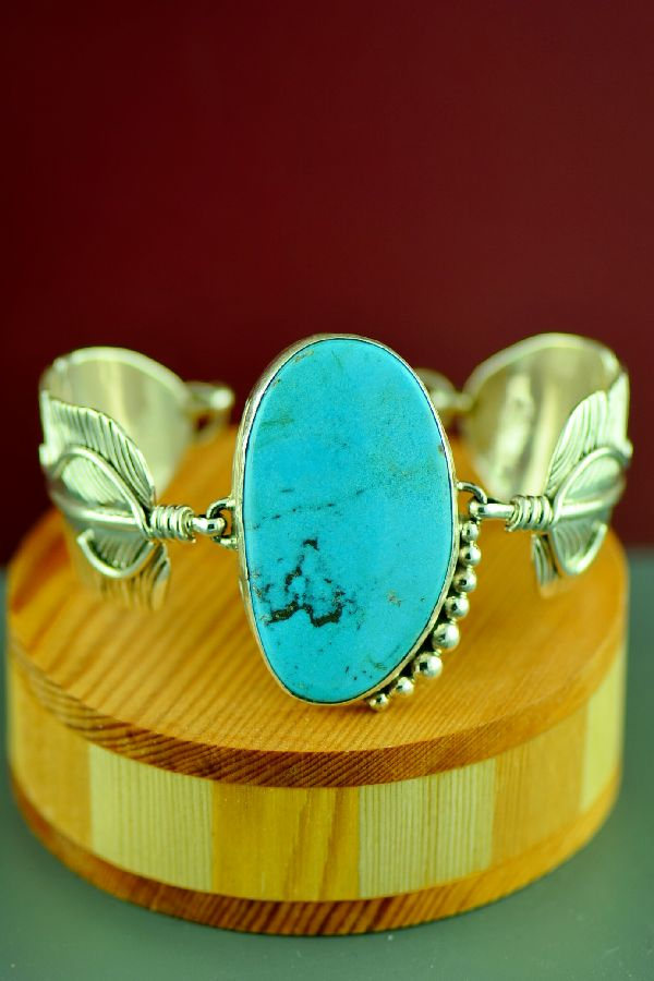 Navajo Sterling Silver Kingman Turquoise Feather Bracelet by Vivian Jones