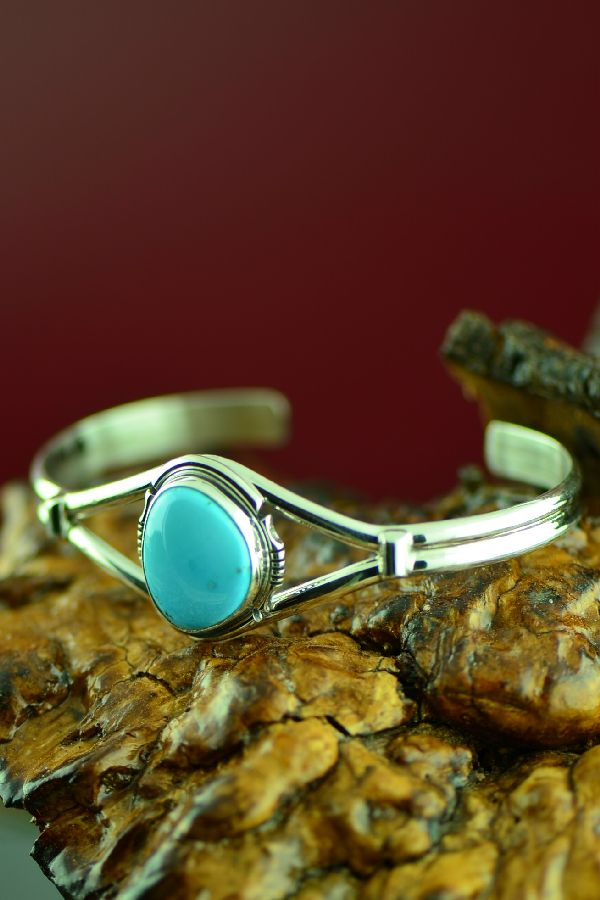 Native American Castle Dome Turquoise Bracelet by Arkie Nelson