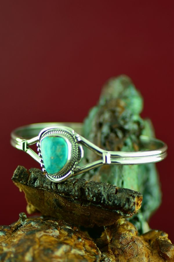 Evelyn Yazzie Sterling Silver Royston Turquoise Bracelet