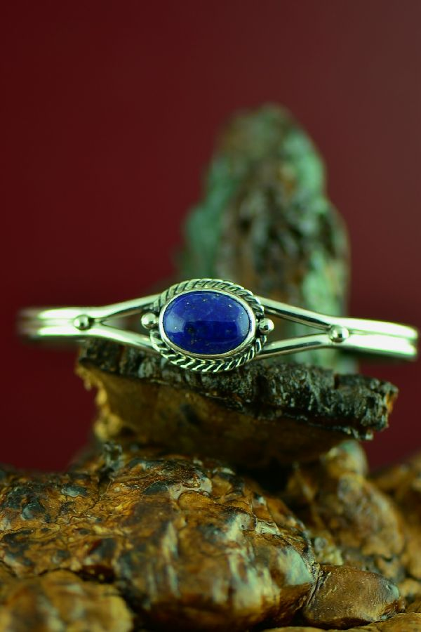 Navajo Sterling Silver Lapis Bracelet by Collier Nelson