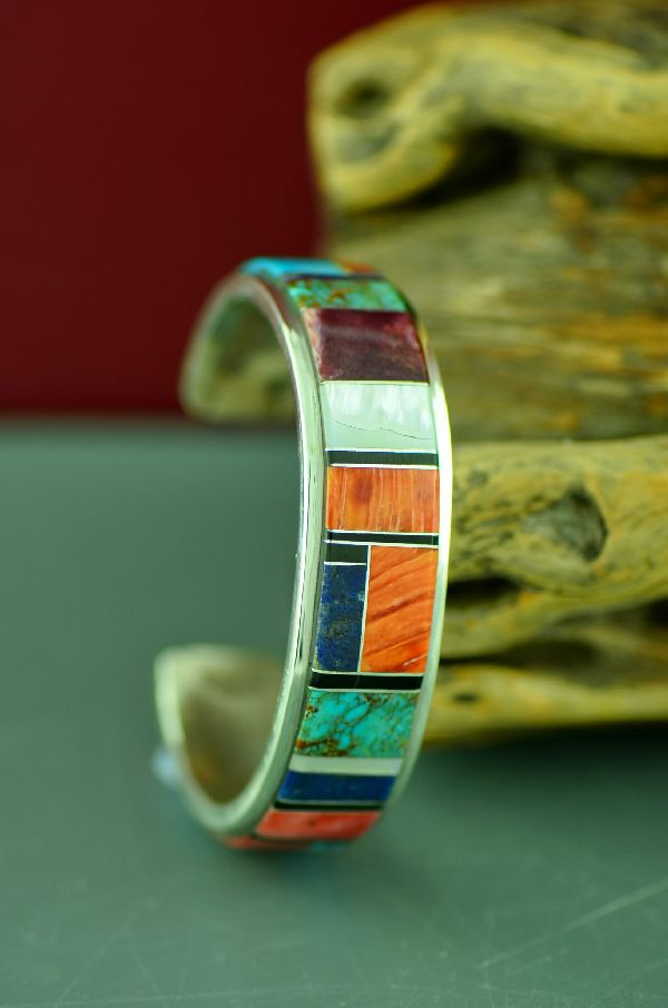 Navajo Exquisite Sterling Silver Turquoise, Spiny Oyster Shell, Mother of Pearl, Lapis, Mother of Pearl and Jet Inlaid Bracelet by Lucy Cayatineto