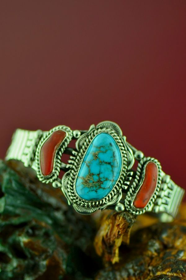 Navajo Sterling Silver Kingman Turquoise and Natural Mediterranean Coral Bracelet by Will Denetdale