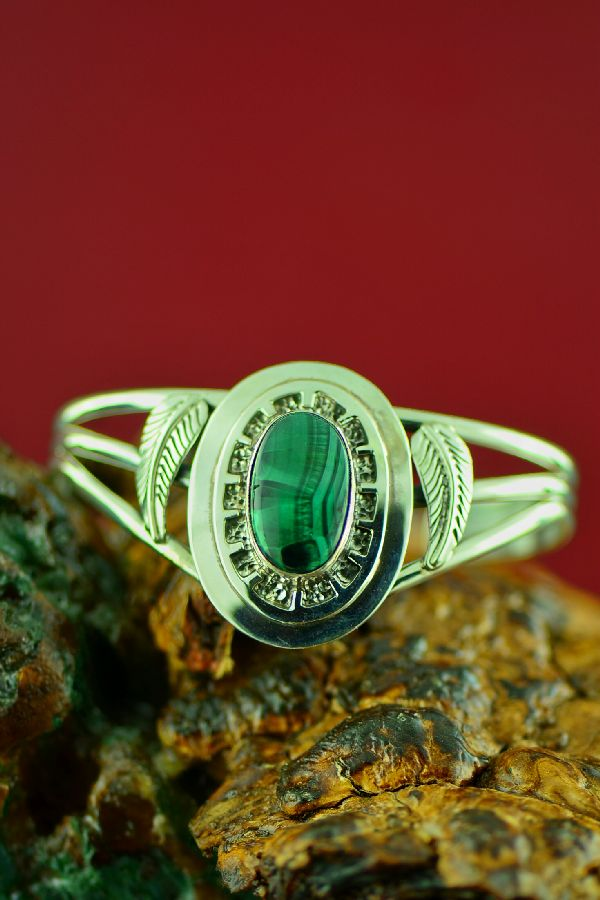 Navajo Sterling Bisbee Malachite Bracelet by Will Denetdale