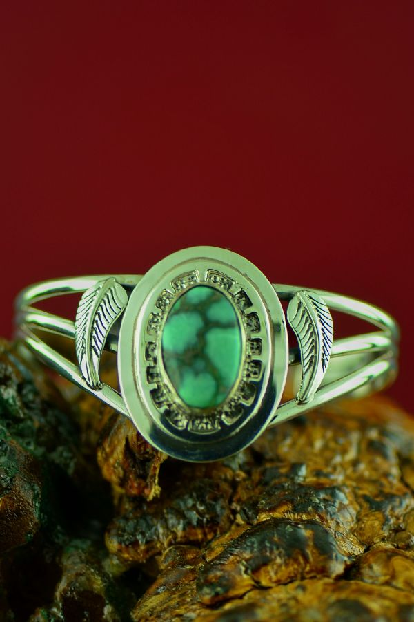 Navajo Sterling Damale Turquoise Bracelet by Will Denetdale