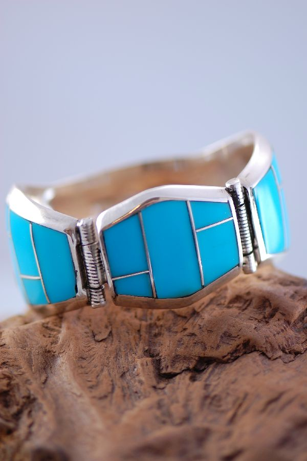 Ben Touchine Navajo Sterling Silver Sleeping Beauty Turquoise Inlaid Bracelet