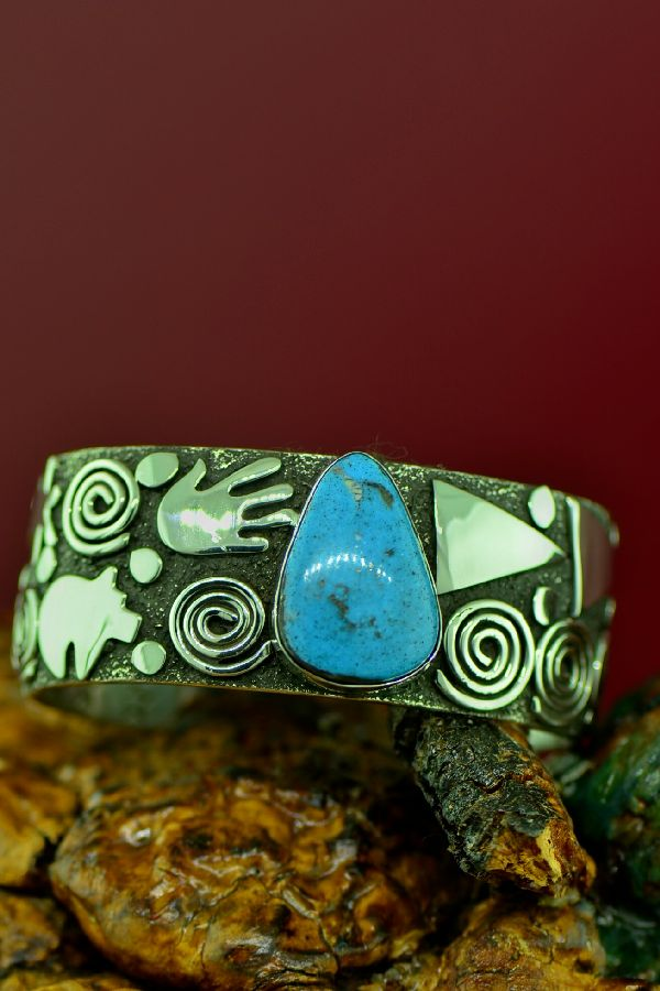 Native Amerian Kingman Turquoise Petroglyph Bracelet by Award Winning Artist Alex Sanchez