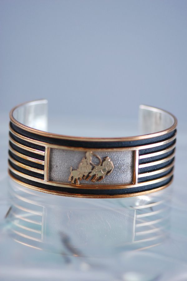 Navajo - 12ktGF and Sterling Silver Team Roper Bracelet by Herman Largo