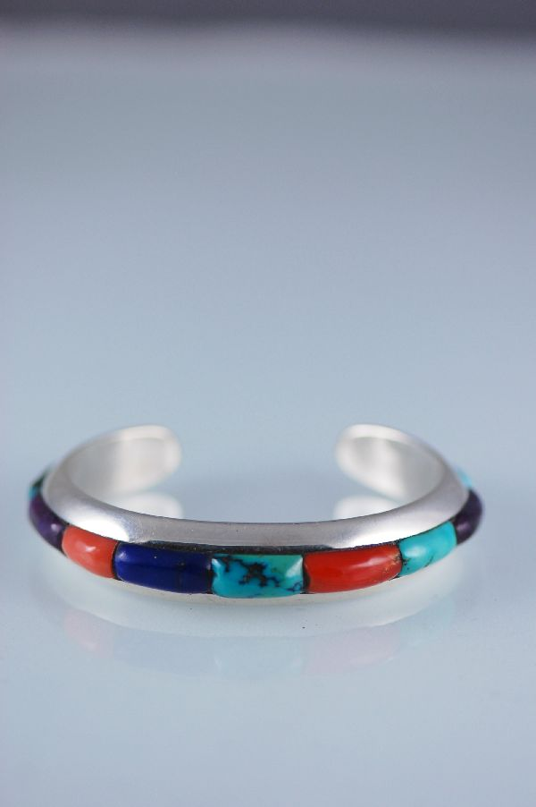 Navajo Quality Multi Stone Raised Inlay Bracelet
