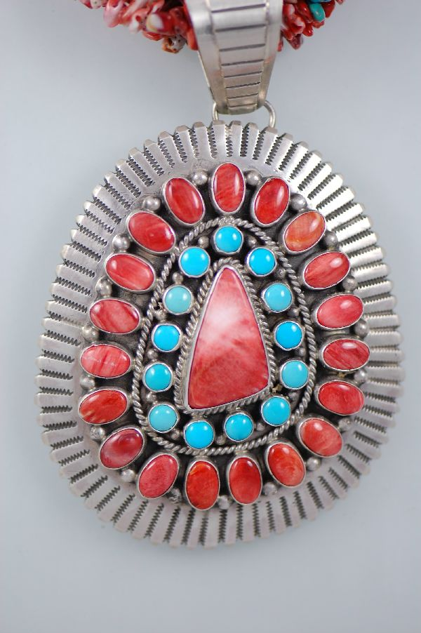 Navajo – Four Strand Spiny Oyster Necklace with a Turquoise and Spiny Oyster Pendant by H. Begay