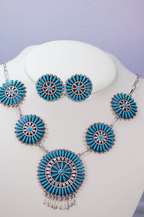 Navajo - Exquisite Needle Point and Petite Point Turquoise Necklace and Earrings Set by Charlie John