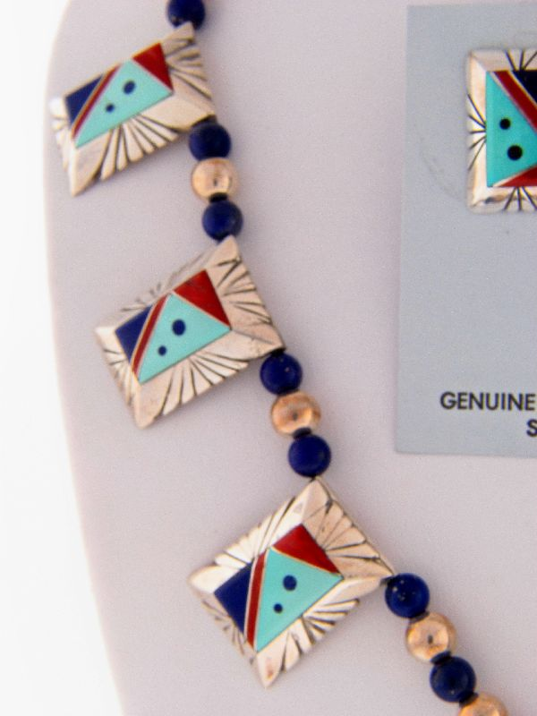 Navajo –Exquisite Multi-Stone Inlaid Sterling Silver Necklace and Earrings by Lucy Cayatineto