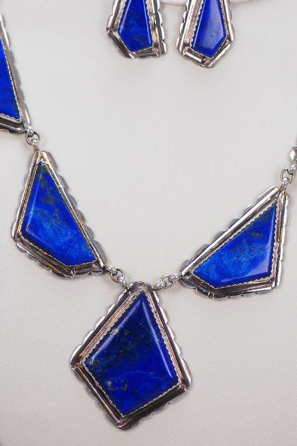Navajo – 7 Piece Natural Lapis Necklace and Earring Set by Eric Fierro