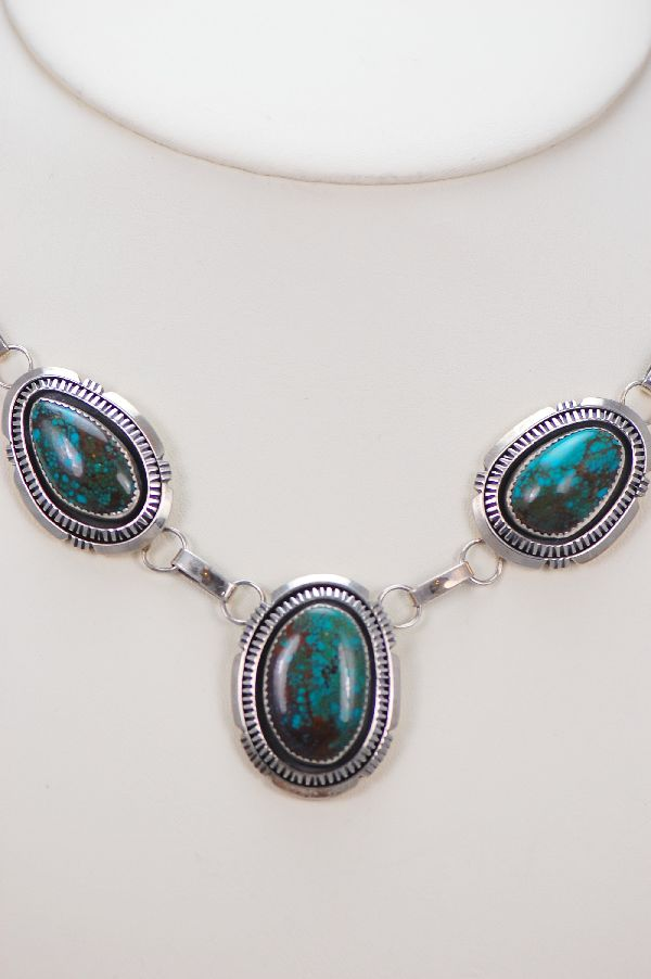 Navajo - Exquisite Bisbee Turquoise Necklace, Bracelet, Earrings and Ring Set by Loren Begay