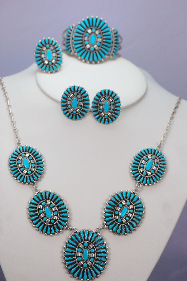 Navajo - Exquisite Tear Drop and Petite Point Turquoise Necklace, Bracelet, Ring, and Earring Set by A & W Nez